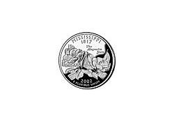 KM 335 U.S.A ¼ Dollar Mississippi 2002 P UNC