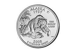 KM 424 U.S.A ¼ Dollar Alaska 2008 P UNC