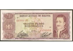P155 Bolivia 20 Bolivianos Unc-