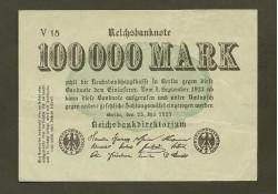 P 91a Duitsland 100.000 Mark Zf+