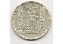 Km 879 Frankrijk 20 Francs 1933 Zf+