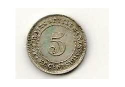 Km 20a Straits Settlements 5 Cent 1910 Zf