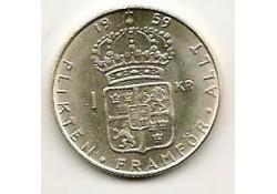 Km 826 Zweden 1 Kroon 1959  Unc