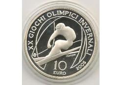 Italië 2005 10 Euro Zilver Olym. Sp. Turijn Skiër Proof