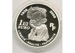 Frankrijk 2008 1½ Euro Zilver 70 jaar Spirou Proof