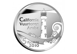 Aruba 2010 5 Florin Vuurtoren Zilver Proof Incl.doosje en Certif
