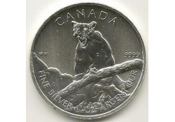 Km ??? Canada 5 dollar 2012 Cougar Unc 1 Ounce zilver