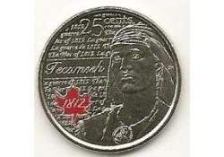Km ??? Canada 25 Cents 2012 Tecumseh gekleurd