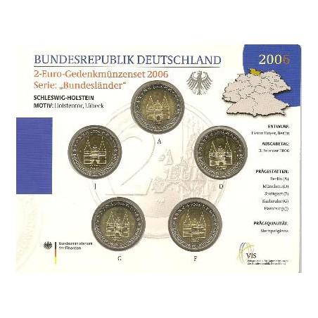 2 Euro Duitsland 2006 ADFGJ UNC Schleswig Holstein Bu