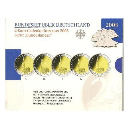 2 Euro Duitsland 2008  Michaeliskerk Hamburg ADFGJ Proof