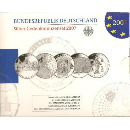 10 euro Duitsland 2007 5X  Proof
