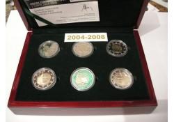 Proofset Luxemburg 2008 met de 2 euromunten 2004 t/m 2008