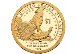 Km ??? USA 1 dollar 2013 D Native American Treaty with the Delaw