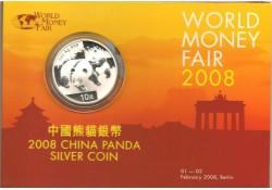 Km 1865 China 10 Yuan Panda 2008  1 Ounce zilver UItgifte WMF