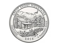 KM ??? U.S.A ¼ Dollar Great Smoky Mountains 2014 P UNC